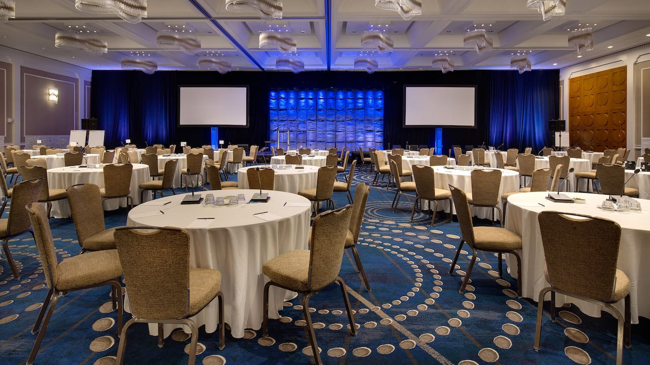 Upscale conference room with exceptional stage lighting at Hyatt Regency Cambridge