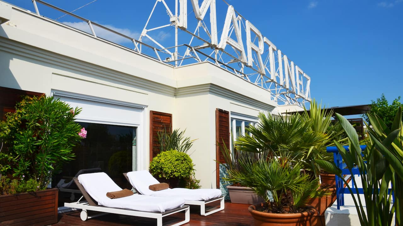 Penthouse suite terrace at Hotel Martinez Cannes by Hyatt