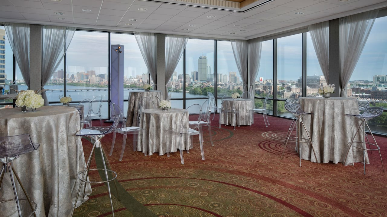 Beautifully designed ballroom with a view of the Charles River