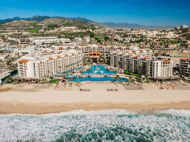 Hyatt Ziva Los Cabos, a Hyatt all-inclusive hotel, is located on a massive beach but the water is too rough to swim in.