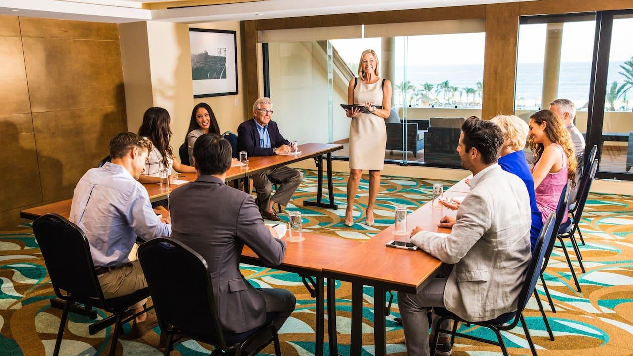 U-Shape Meeting Setup with Female Speaker