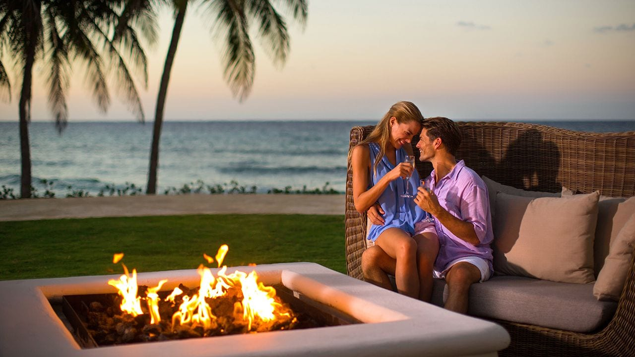 Romantic Moment By Firepit