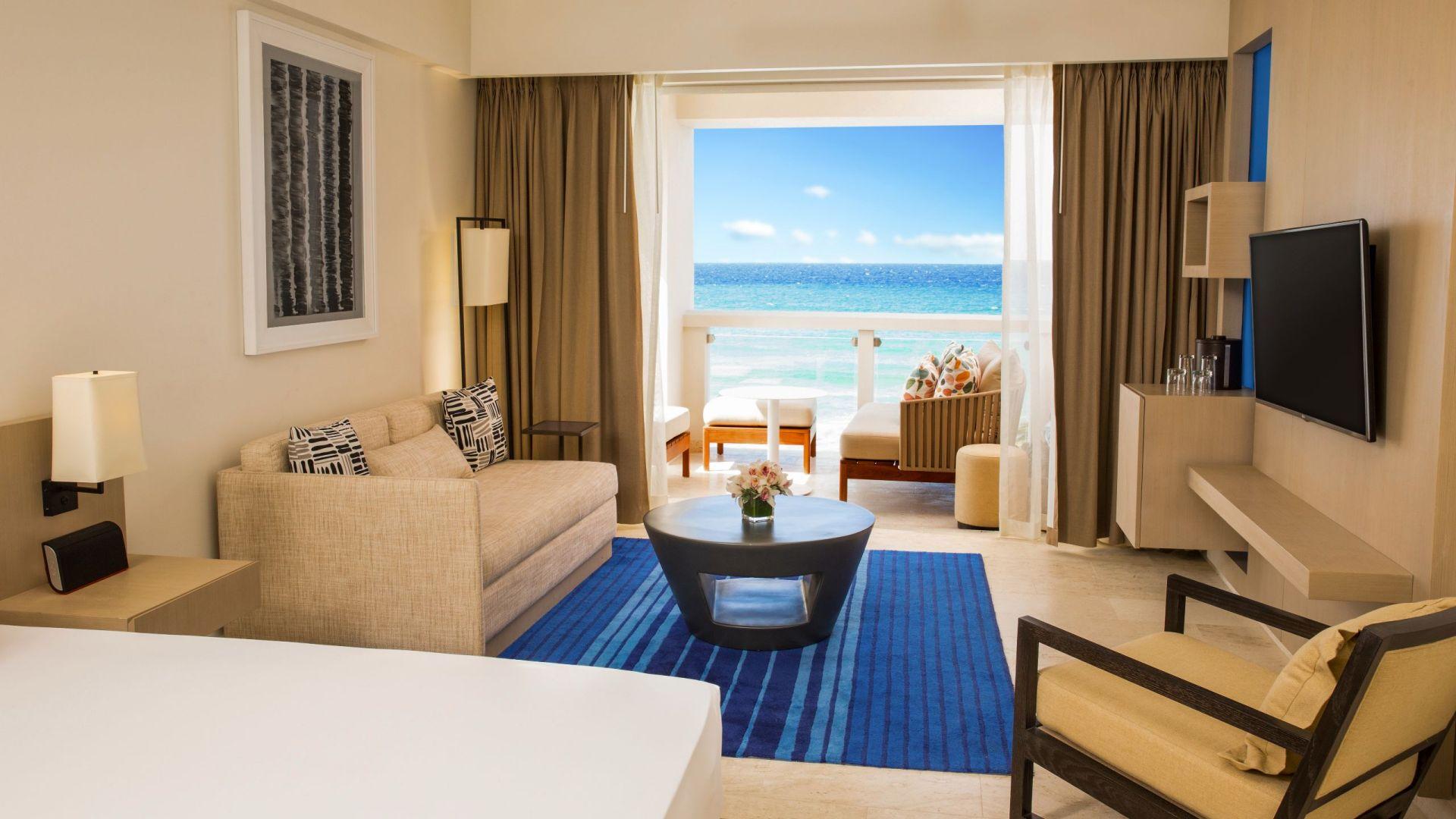 Living area in resort suite with ocean view
