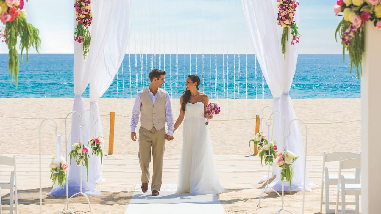 Couple at Beach Wedding Ceremony