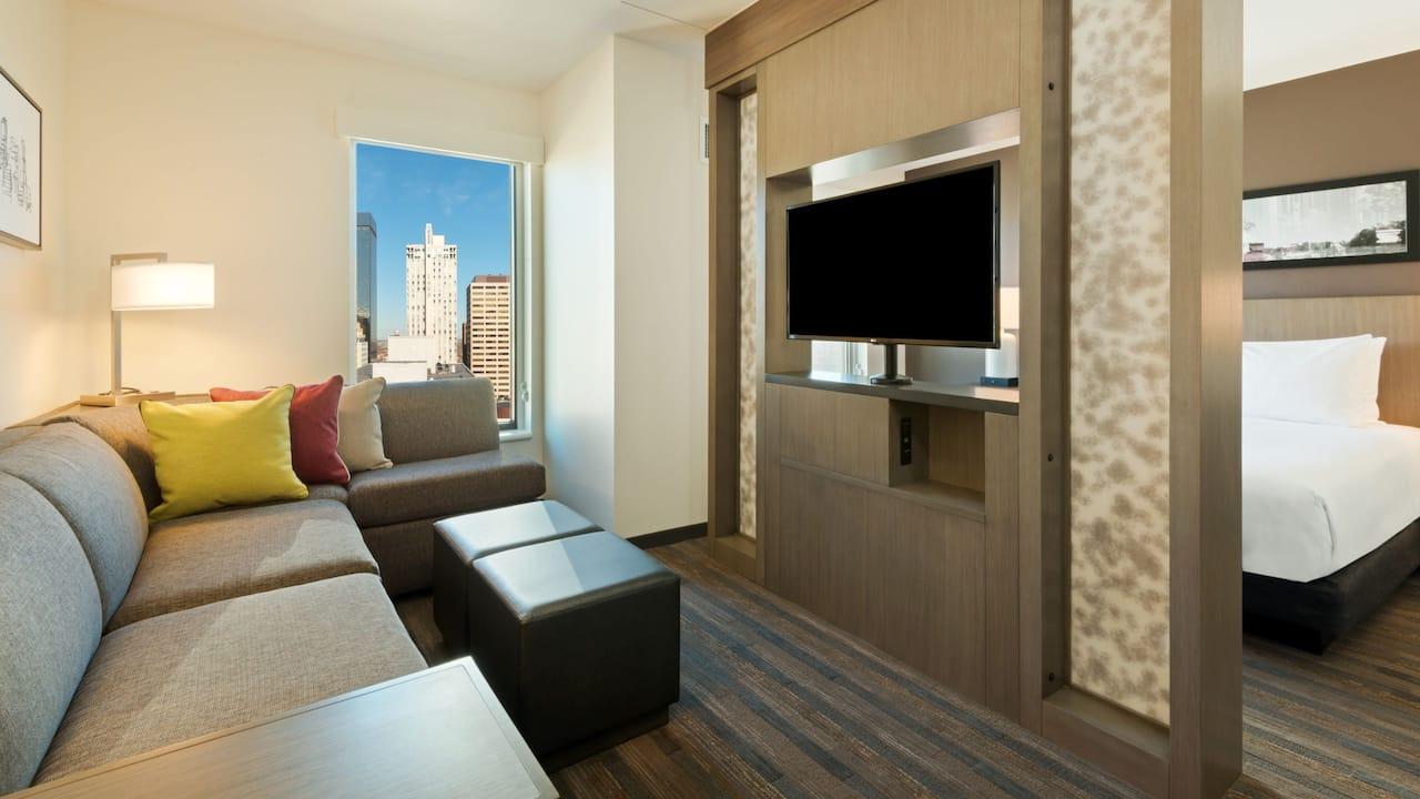 King Studio Living Area Hyatt House Denver / Downtown