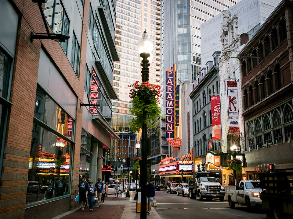 A street's view of beautiful downtown Boston