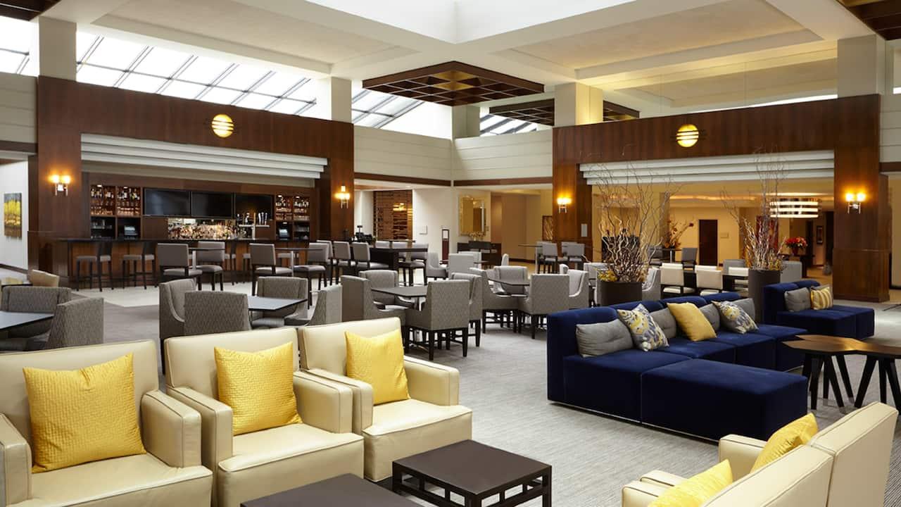 Lobby lounge inside Hyatt Regency Lisle near Naperville