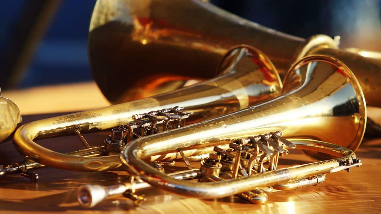 Trumpets instruments in Symphony Hall Birmingham