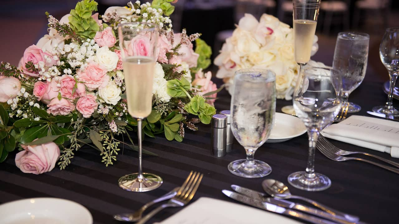 Close up of a hotel wedding ballroom table in Rosemont