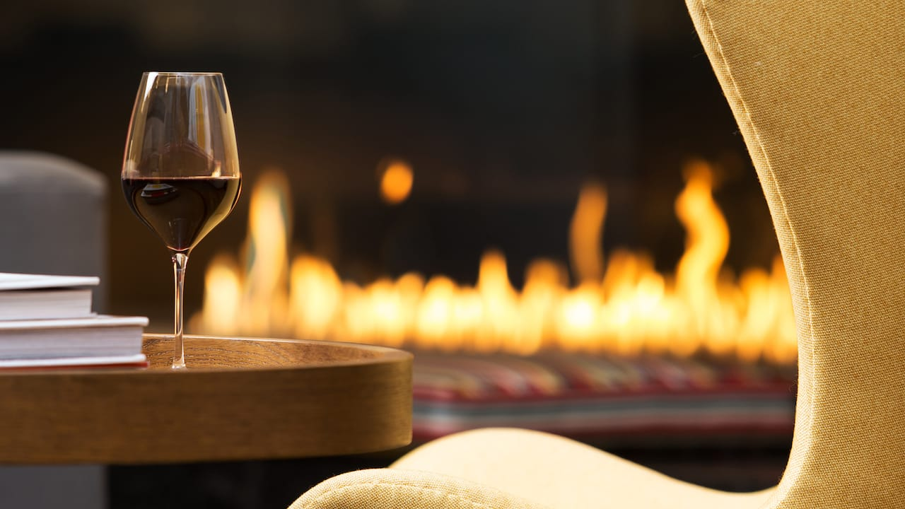 Fireplace and a glass of wine