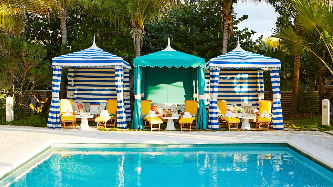 Outdoor Swimming Pool with Cabanas