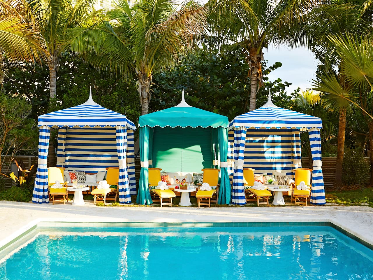 Cabanas by Swimming Pool in Miami Beach at The Confidante Miami Beach