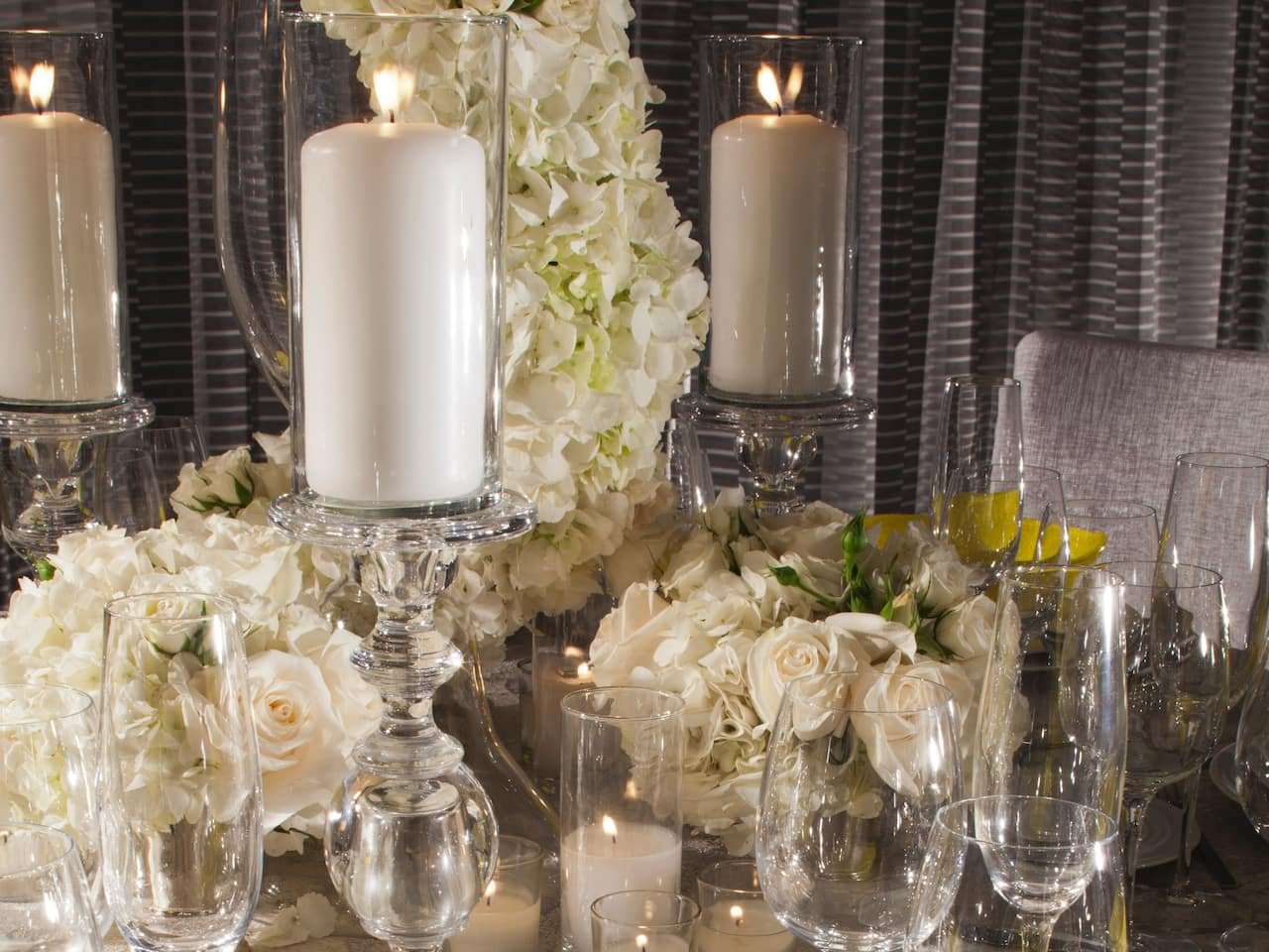 Candles and flowers for wedding decorations Hyatt Regency Los Angeles International Airport