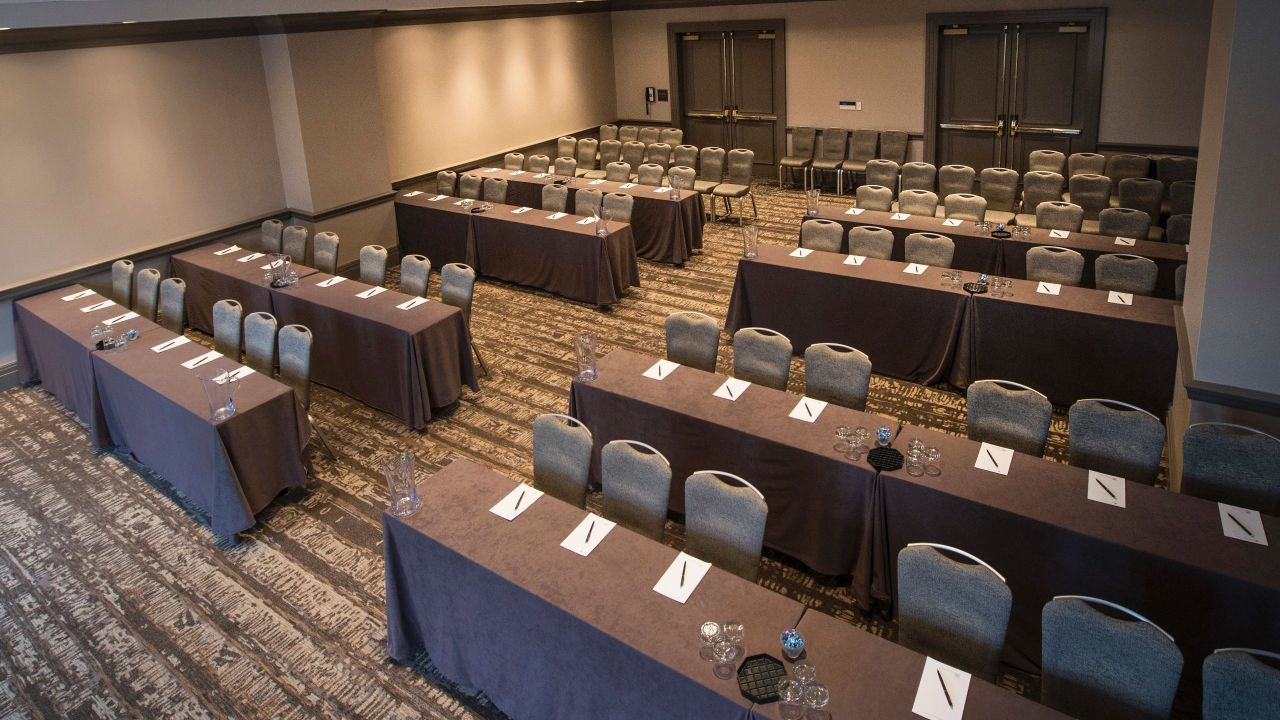 Classroom set up in hotel ballroom