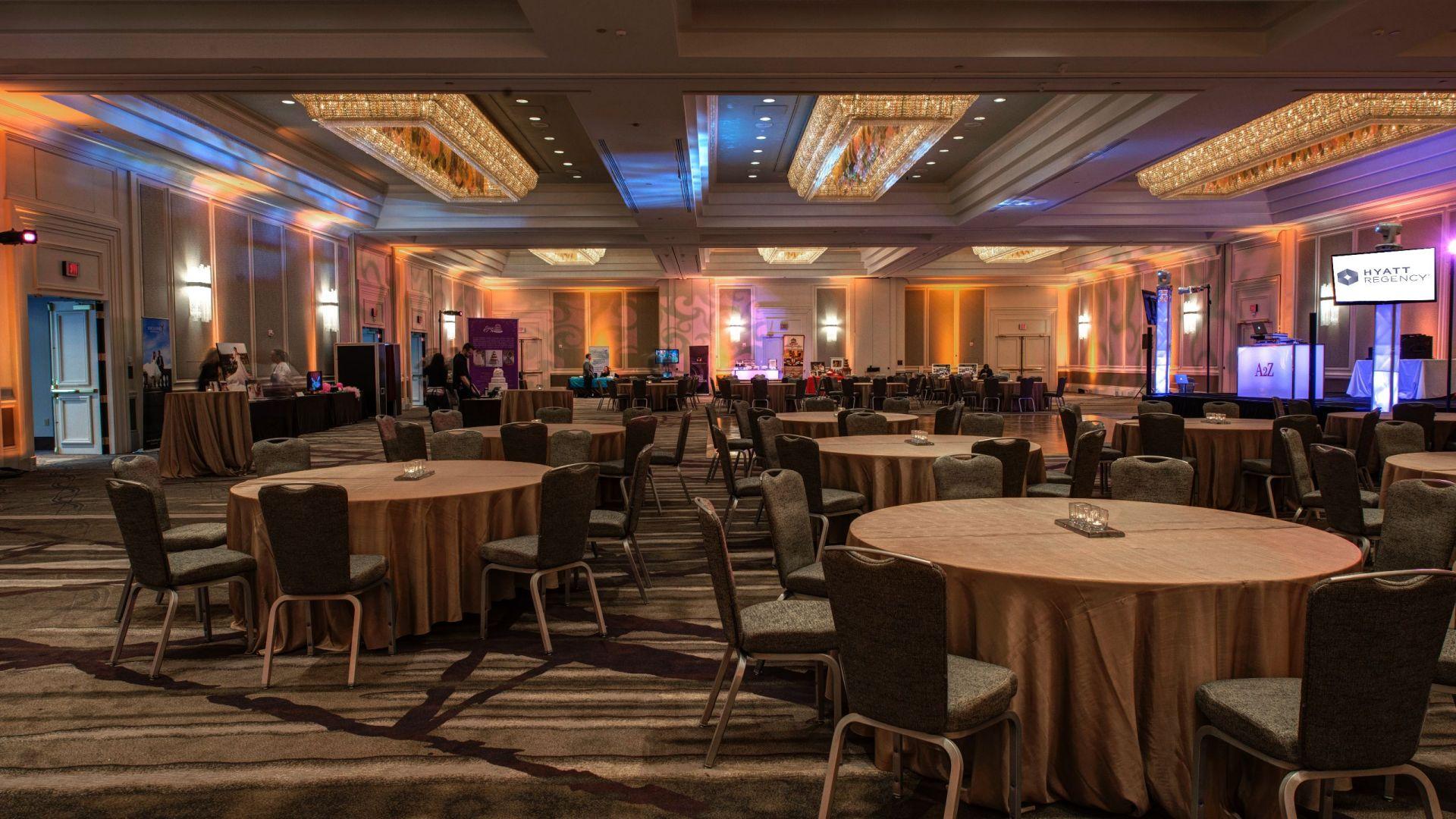 Hotel ballroom set up for event