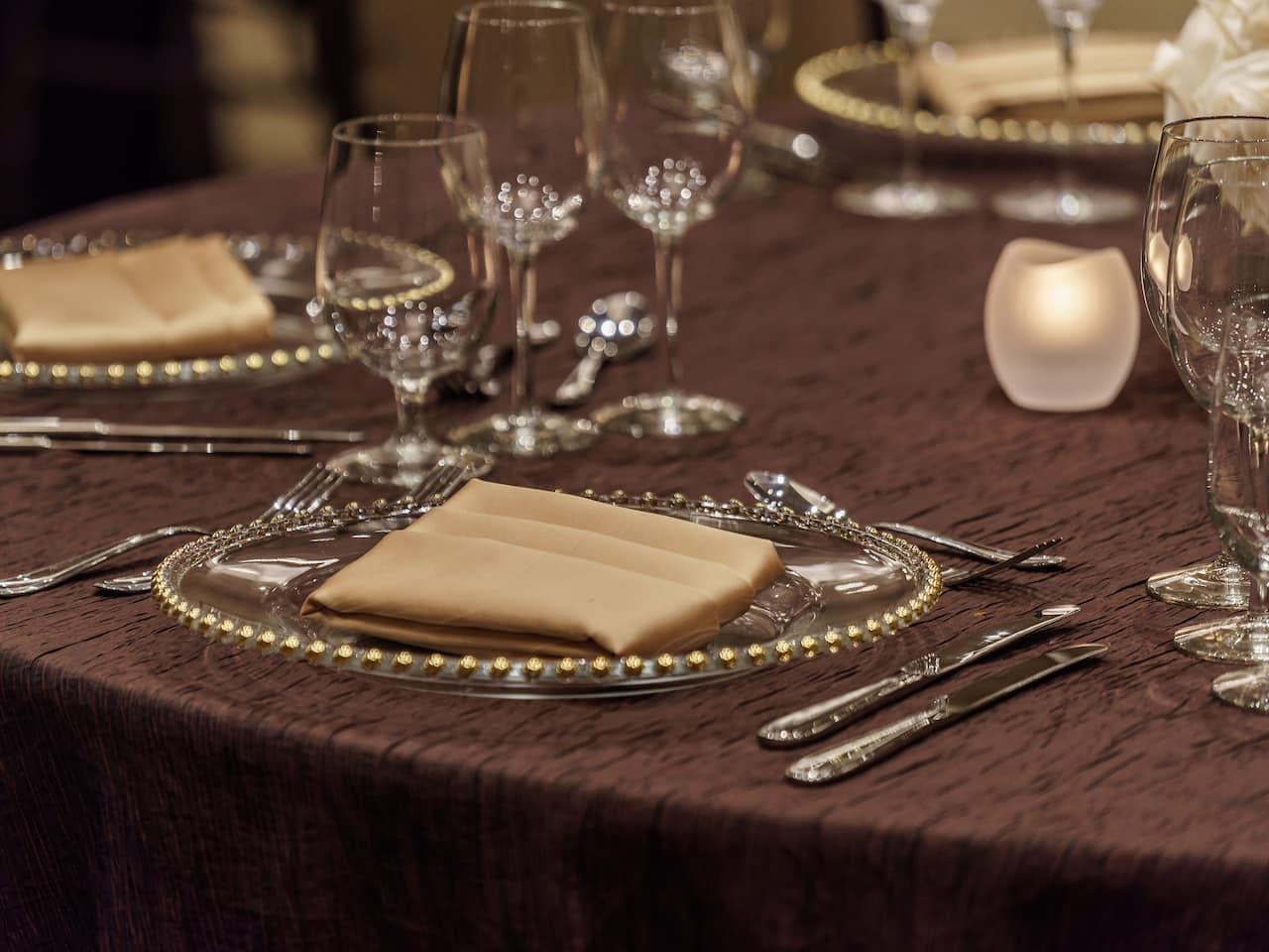 Private Reception Table Setting at Hyatt Regency Aurora-Denver