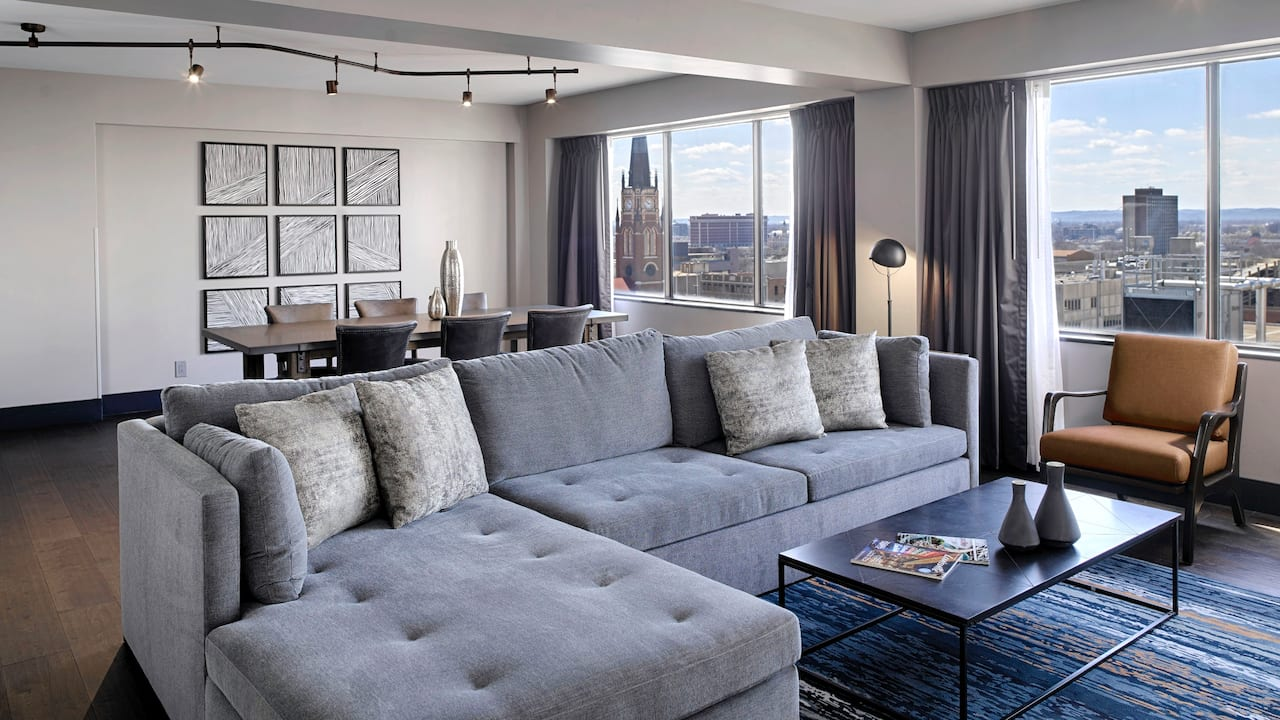 VIP room with couches and city view