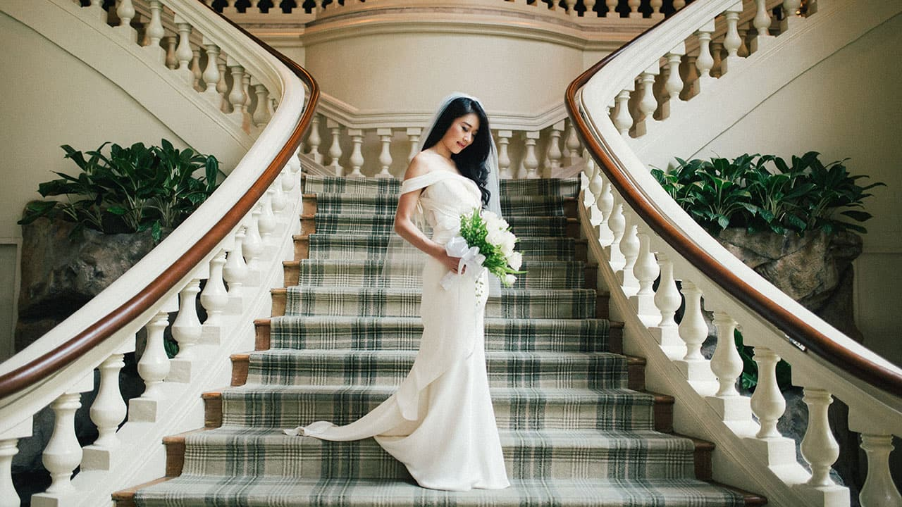 Bride on grand steps