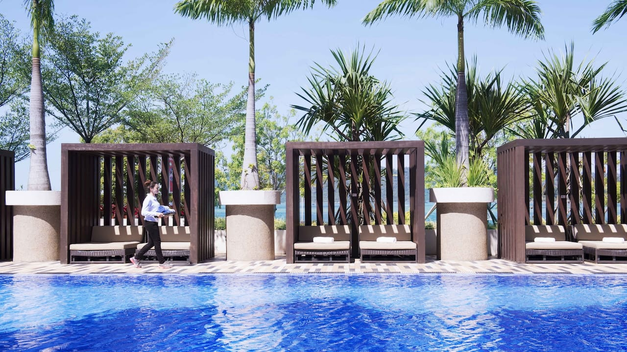 Poolside Cabana at the Hyatt Regency Hotel Kinabalu, Sabah