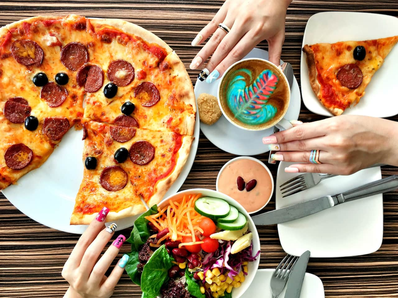 Mosaic Rainbow Latte Pizza