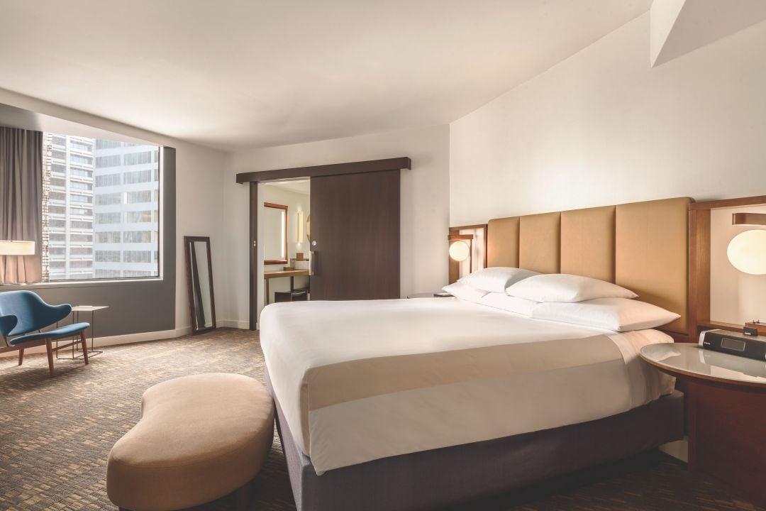 Hyatt Regency Houston spacious VIP Grande Suite bed