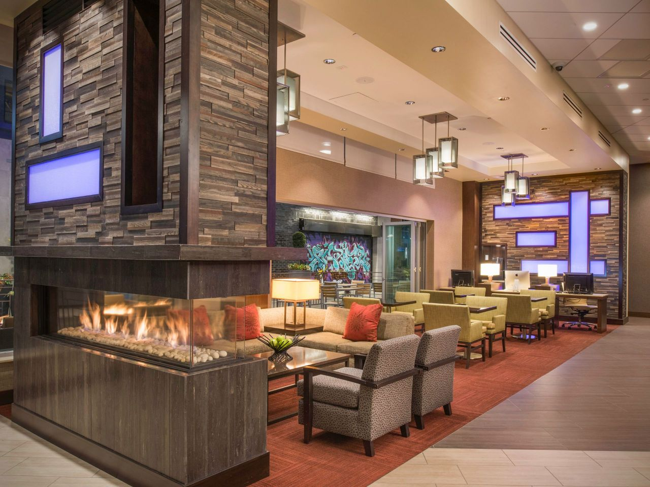 Lobby Seating Fireplace
