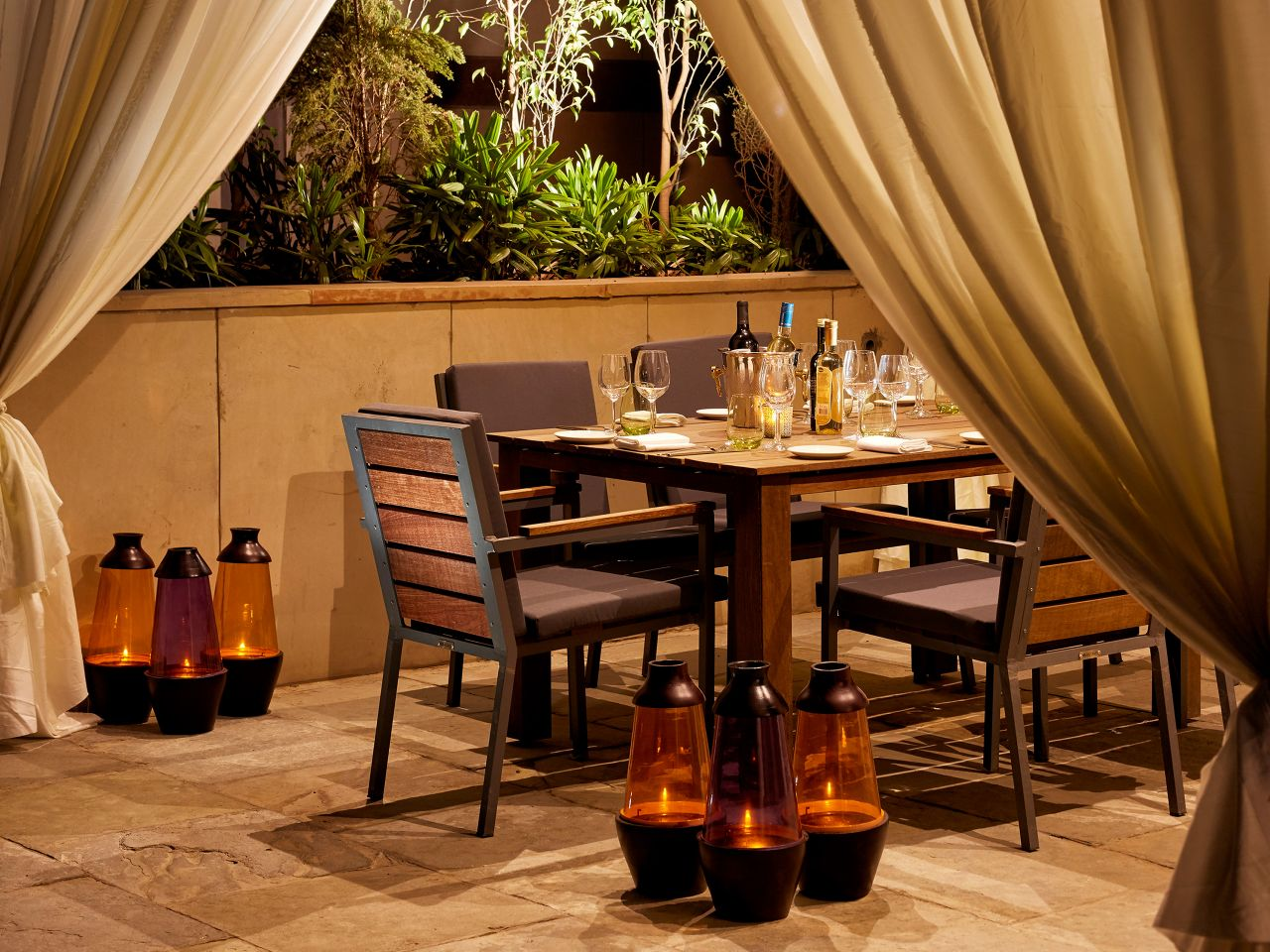 Dining table on restaurant outdoor patio