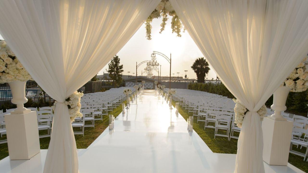 Covered lawn wedding ceremony at Hyatt Regency Los Angeles International Airport