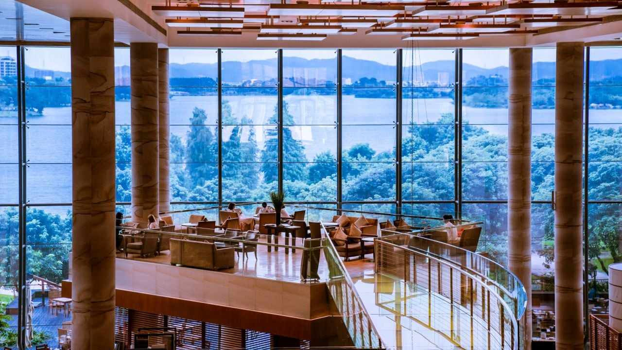 Lobby lounge with lake view