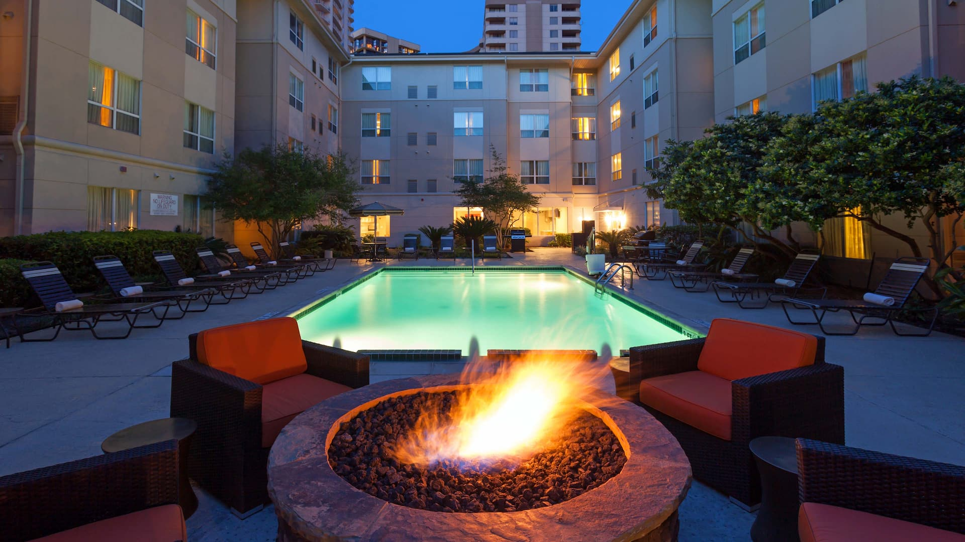 Fire Pit  and Evening Pool