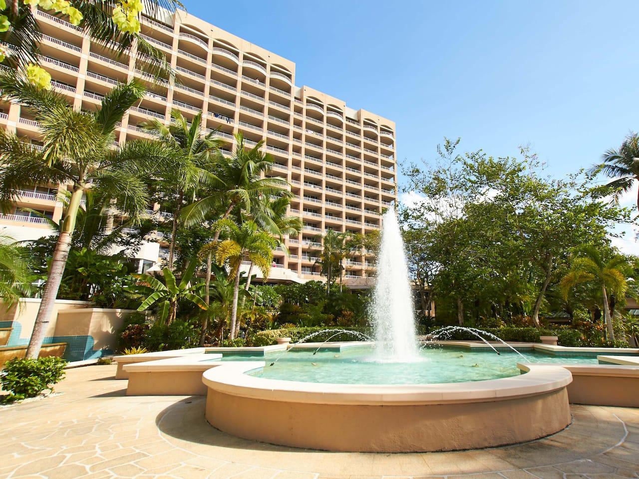 Fountain outside Hyatt Regency Guam