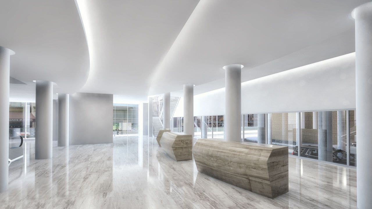 Rendering of marble lobby at Hyatt Regency Rochester