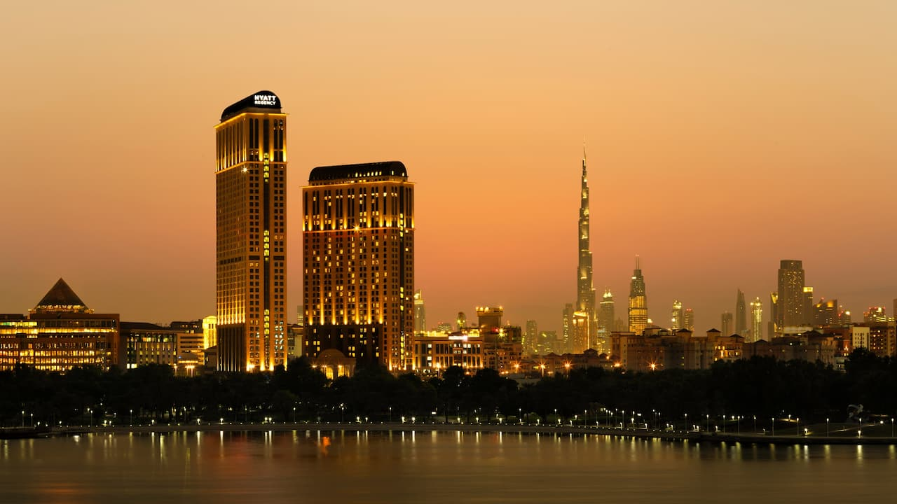 Hyatt Regency Dubai Exterior Sunset