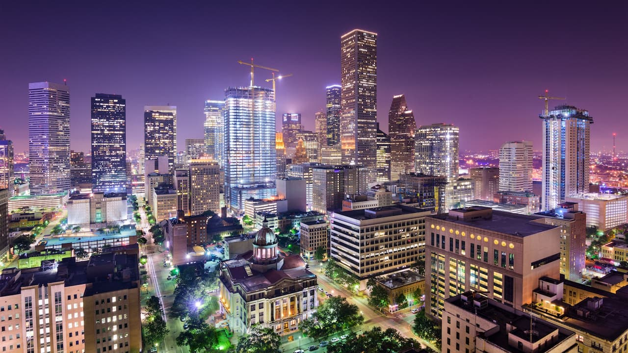 The city of Huston at night