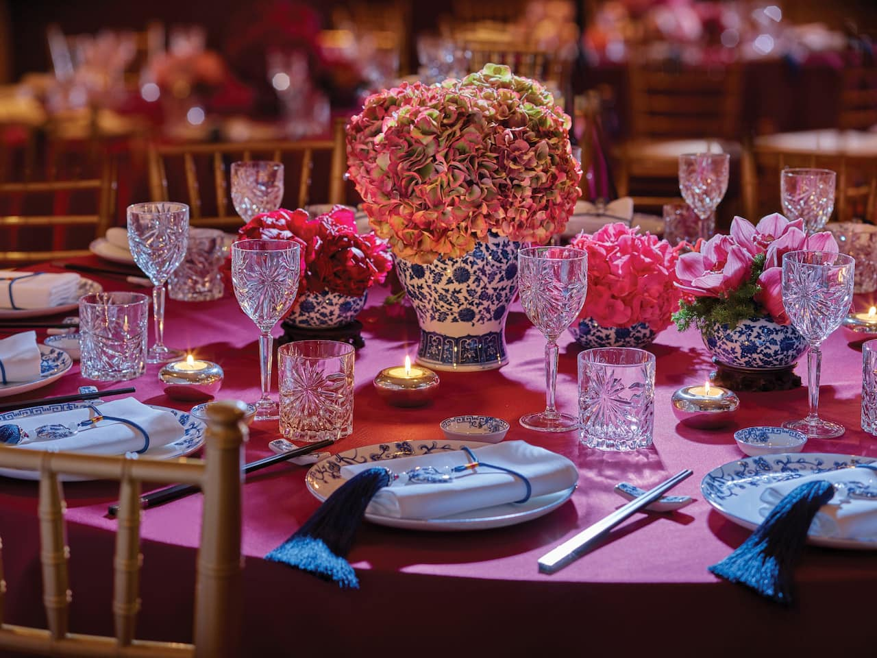 Shanghainese Banquet Setup with Red Table Cloth