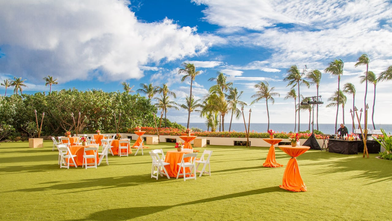 Outdoor wedding reception venue at Hyatt Regency Maui Resort and Spa