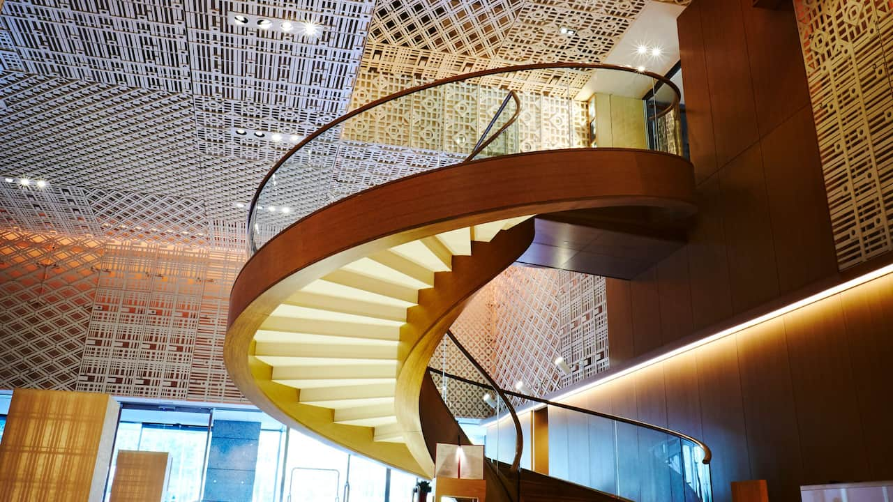 Lobby spiral staircase