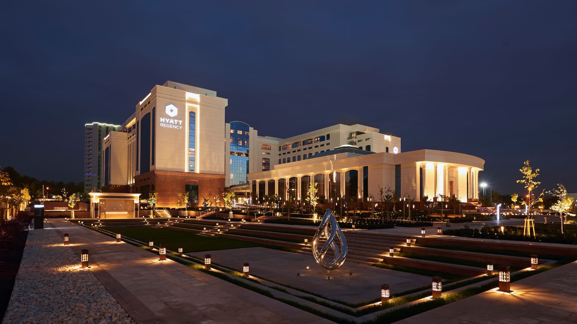 Exterior of Hyatt Regency Tashkent at night