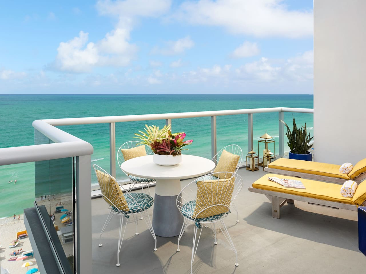 Hotel balcony near the ocean in Miami