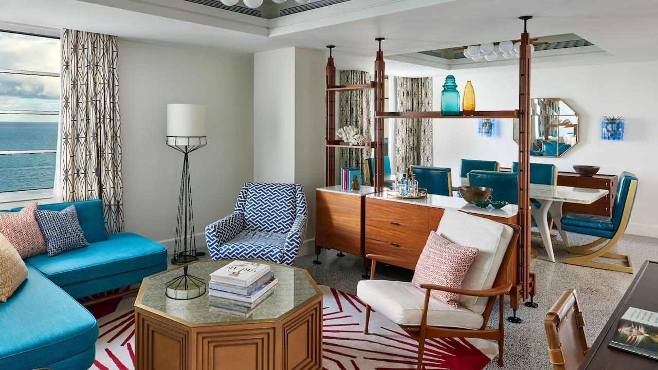 suite living room at The Confidante Miami Beach