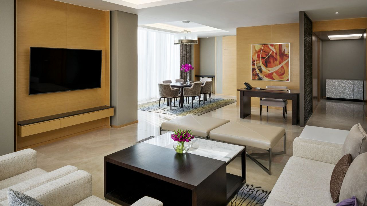 Living area in hotel executive suite