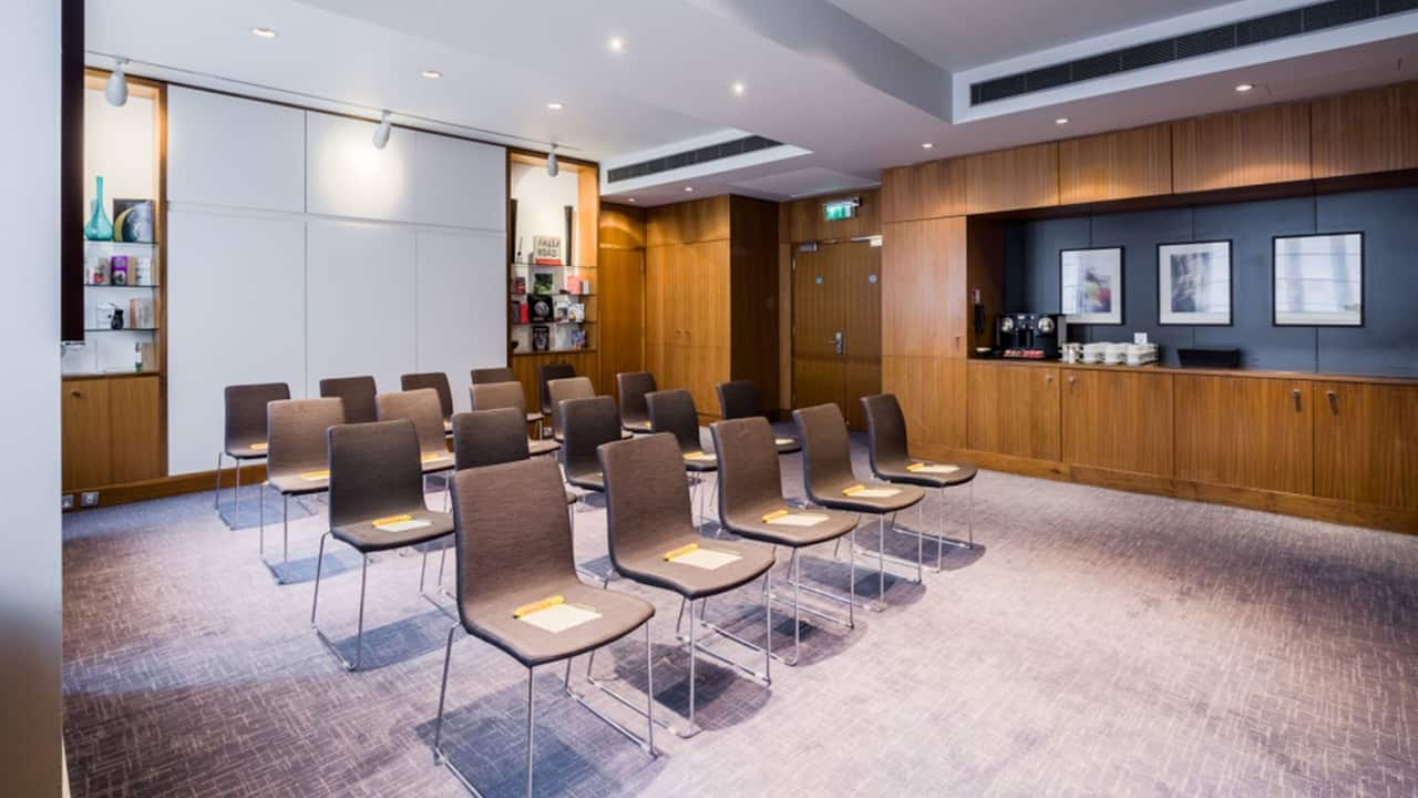 Theatre style set up in a meeting room at Andaz London Liverpool Street