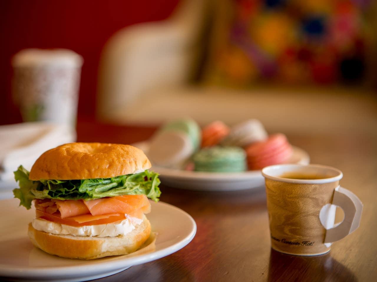 Coffee House Breakfast Tea and Bagel Sandwich
