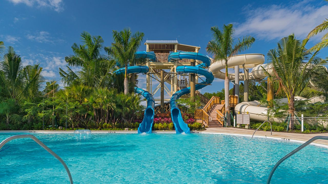 Thrilling waterslides and lazy river