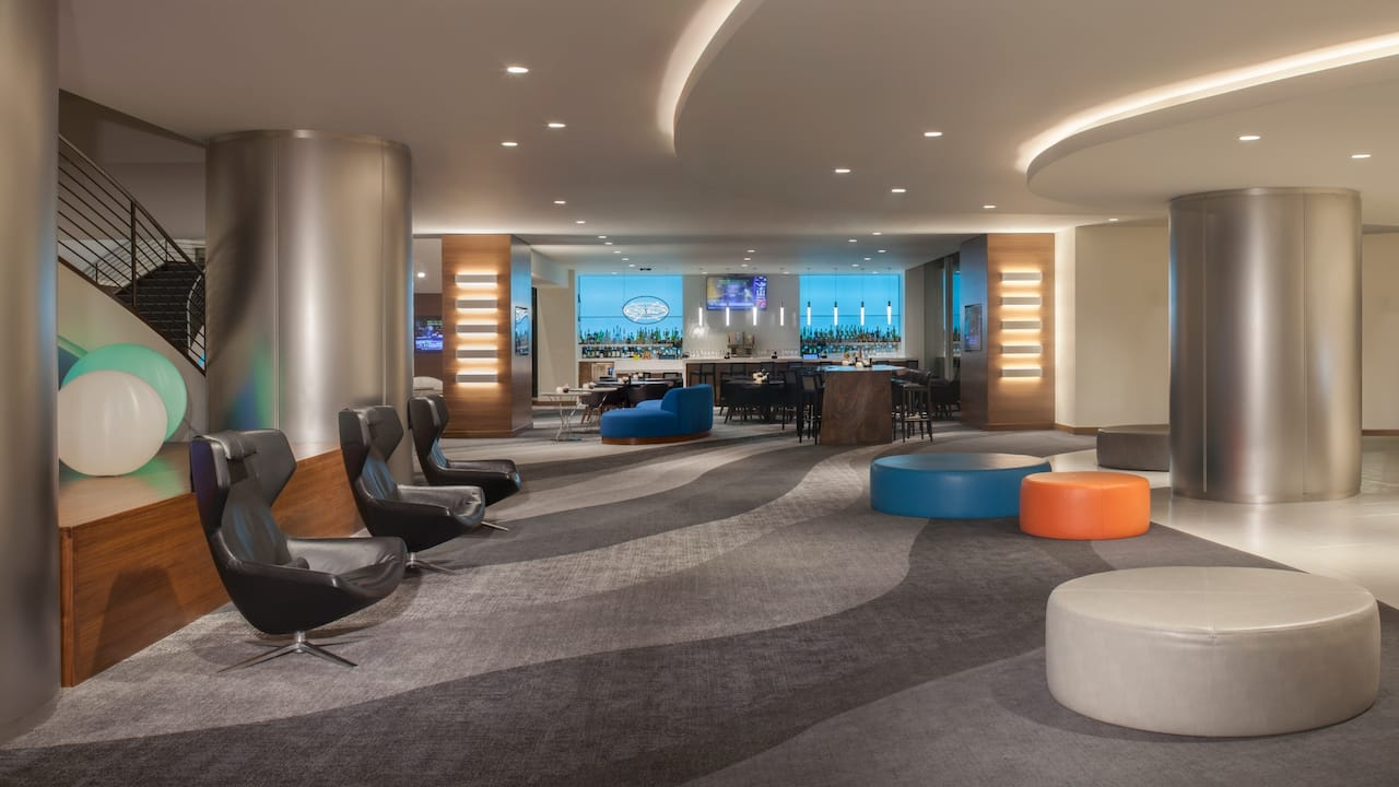 Lobby and bar area of hotel