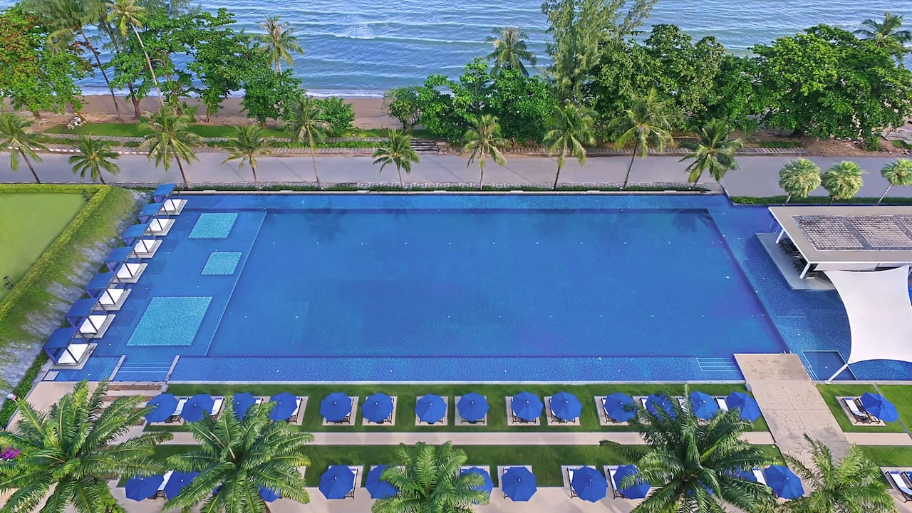 Outdoor pool overhead view