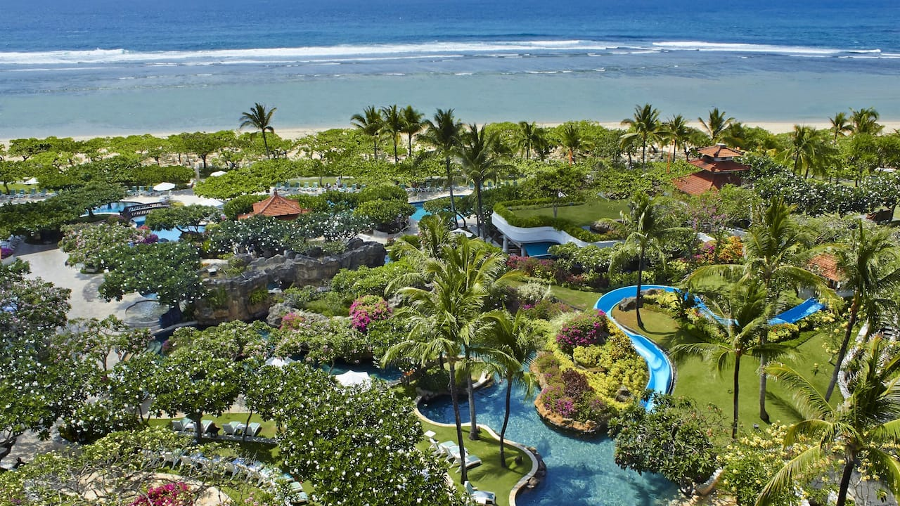 Aerial Shot of the Beach Grand Hyatt Bali Hotel