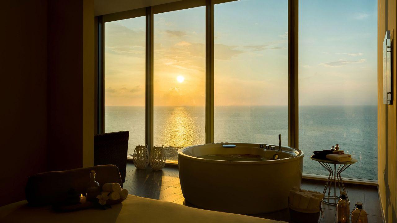 spa at sunset