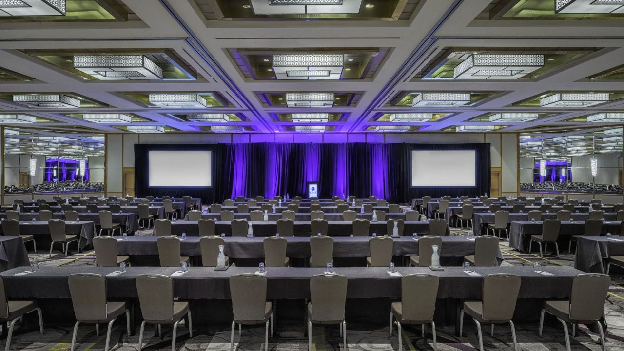 Hyatt Regency Princeton Ballroom classroom meeting set up with purple backdrop