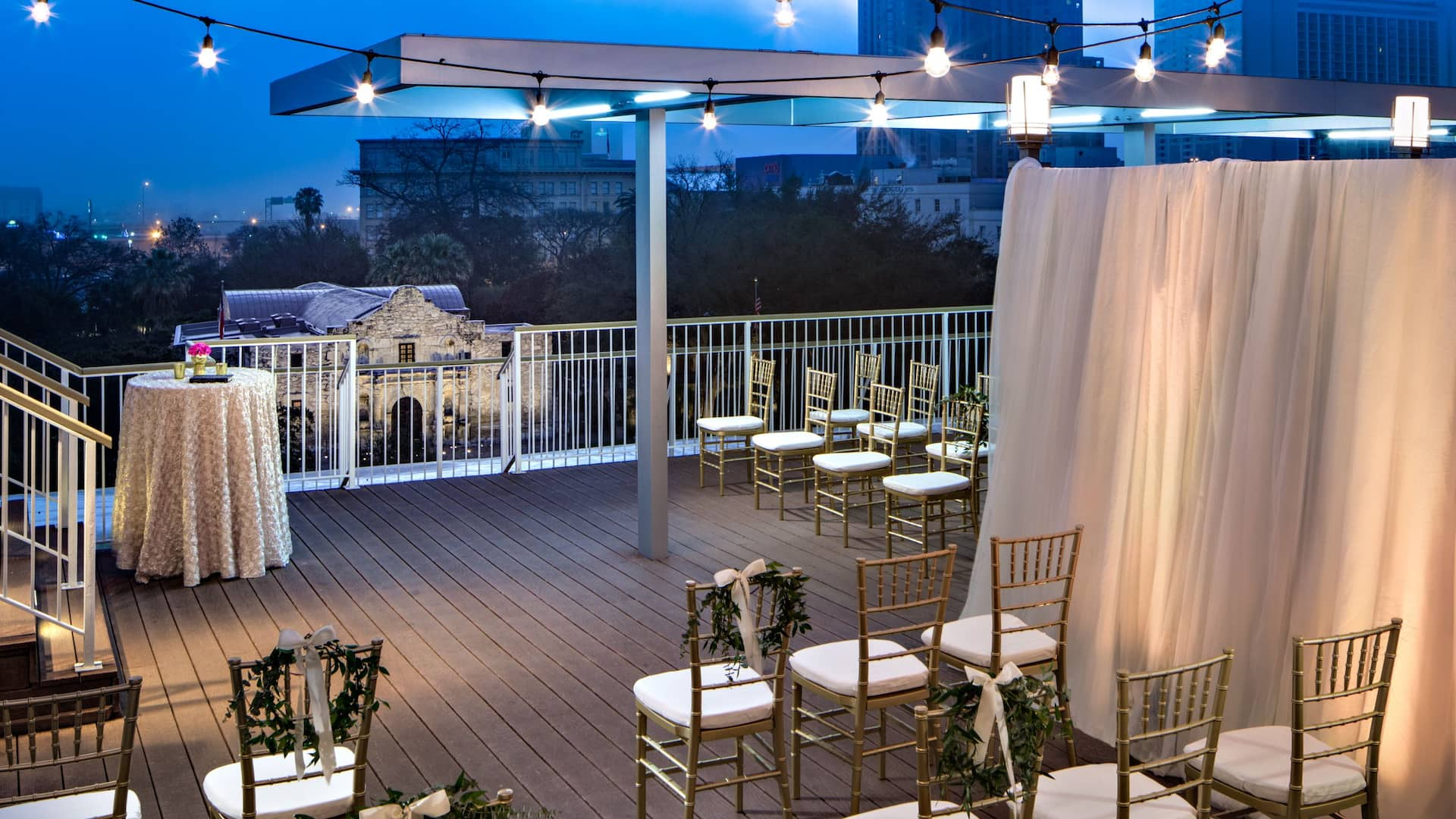Small balcony wedding venue overlooking the Alamo